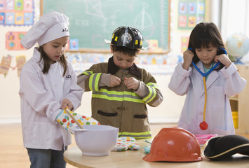Students dressed as chef, fireman and doctor