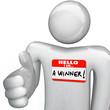 Hello I Am a Winner Nametag Person Greeting Handshake
