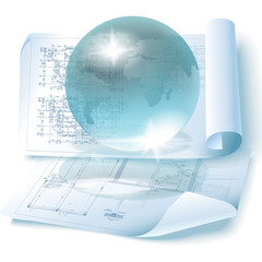 Conceptual architectural background with a globe