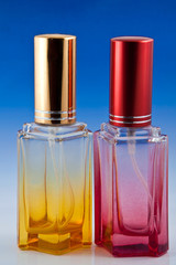 Beautiful red and yellow perfume bottles