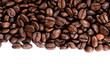 Coffee beans on the white background with copy space