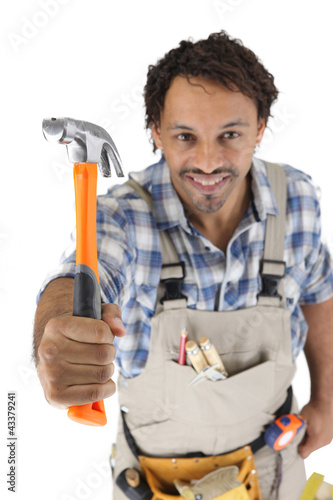 Worker ready to hammer