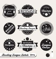 Vector Set: Bowling League Champion Labels