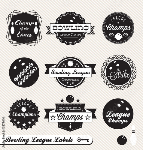 Vector Set: Bowling League Champion Labels