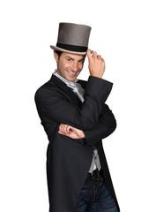 man wearing a top hat