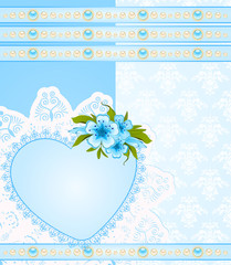 Vintage background with lace ornaments and flowers.