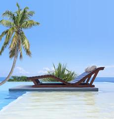 piscine sous cocotier