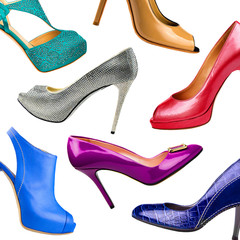 Multicolored female shoes background-4