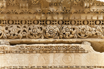 the roman stone carving in ancient city of jerash, jordan