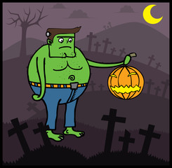 Frankenstein in Halloween night