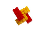 Lego plastic toy blocks, red, yellow poster