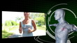 Videos of a blonde woman jogging