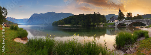 Alps in Slovenia - lake Bohinj , Mountain panorama at sunrise © TTstudio