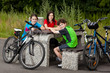 Cyclists resting