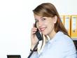 Secretary at work having a good call
