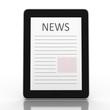 Business newspaper on tablet