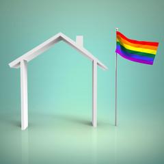 Casa con Bandera