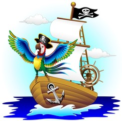 Pappagallo su Nave Pirata Cartoon Pirate Macaw Parrot on Ship