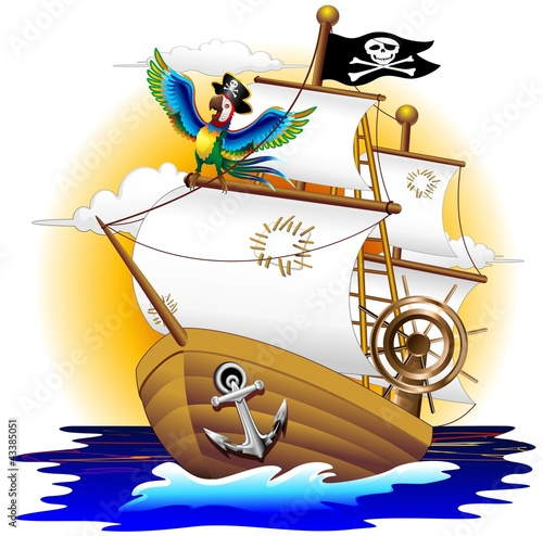 Nave Pirata con Pappagallo-Pirate Ship and Cartoon Macaw