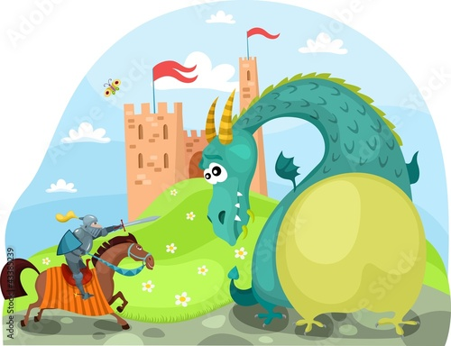 Tuinposter Ridders dragon and knight