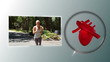 Video of a woman jogging with a heart animation
