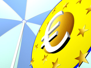 euro under the rescue screen on white background - 3D