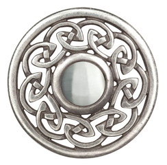 Silver celtic brooch in isolated on white  Super macro