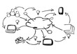 Cloud computing social media apps black and white sketch