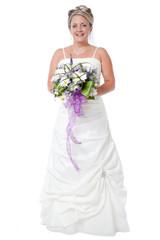 Happy bride in her dress