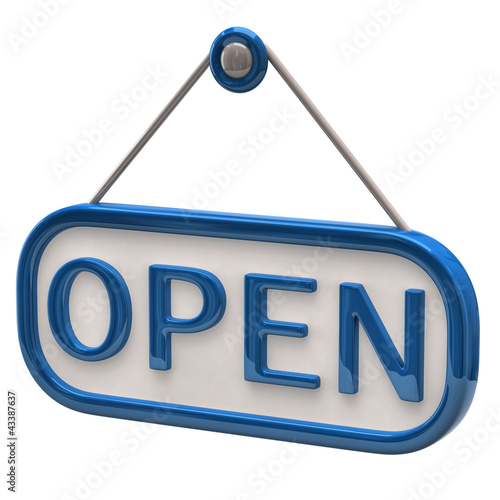 Blue open sign
