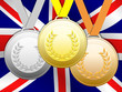 Medals with Union Jack flag background