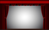 Red theater curtain vector background