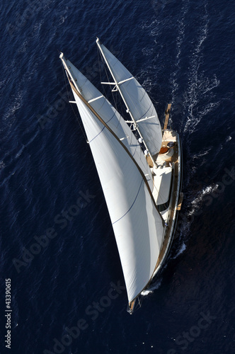 aerial photograph of luxury sailboat