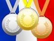 Médailles sur fond drapeau français