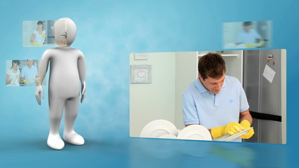 Little robot presenting a couple washing the dishes