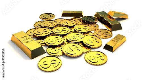 Dollar money  and gold ingot isolated on white background