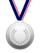 Silver medal with blue white red ribbon