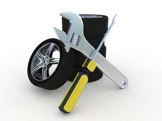 Wheel and Tools on white background. Isolated 3D image
