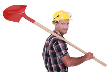 A handyman with a shovel.