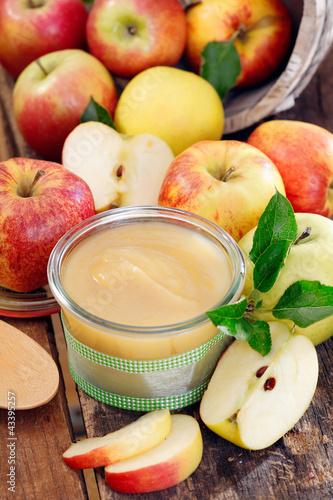 Glass jar of fresh apple sauce