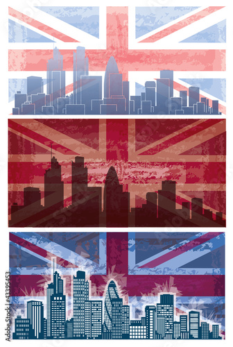 Vector of British flag grunge background  with London city