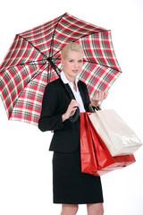 woman with Scottish umbrella