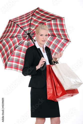 woman with Scottish umbrella