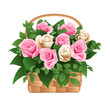 Roses in basket. Vector illustration