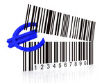 bar code as an open mouth with Euro