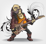 Old rock musician with a guitar.
