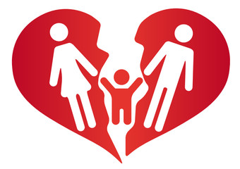 Symbol Familie Scheidung Herz