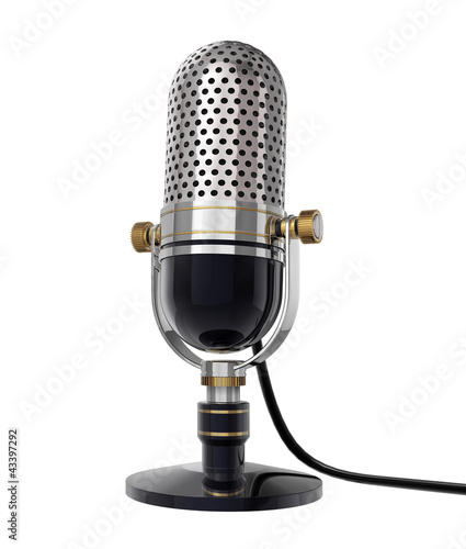 3d Retro microphone (side view). isolated on white with clipping