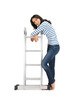 beautiful woman with ladder