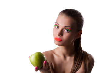 Pretty woman offer green apple with uv make-up